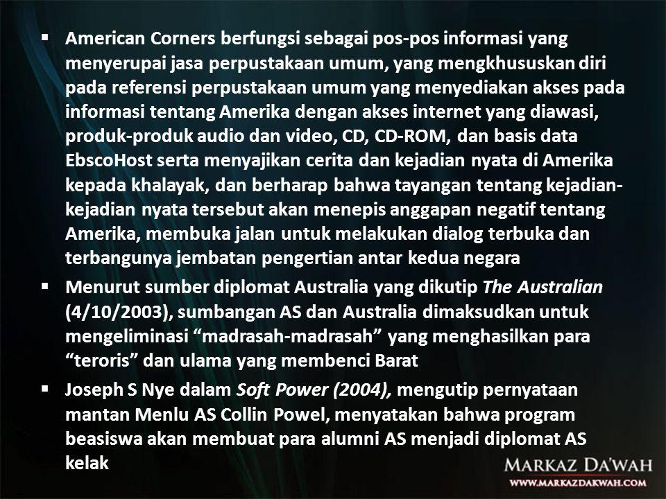  American Corners berfungsi sebagai pos-pos informasi yang menyerupai jasa perpustakaan umum, yang mengkhususkan diri pada referensi perpustakaan umu
