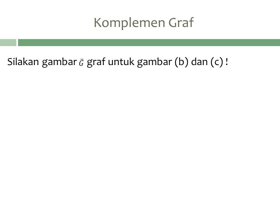 Komplemen Graf Silakan gambar graf untuk gambar (b) dan (c) !