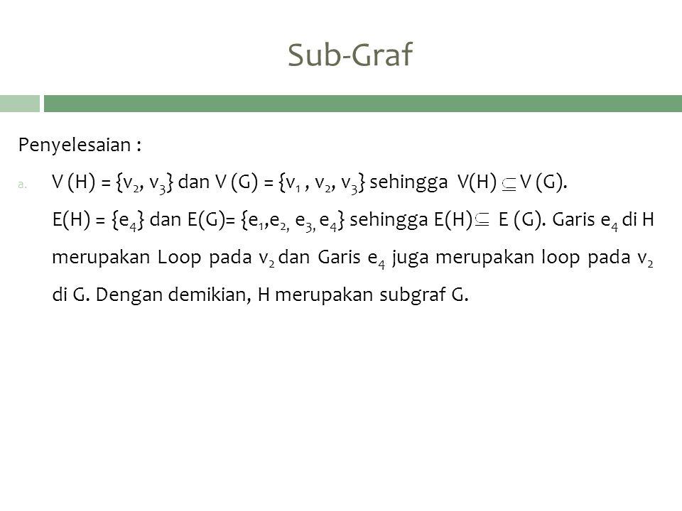 Sub-Graf Penyelesaian : a. V (H) = {v 2, v 3 } dan V (G) = {v 1, v 2, v 3 } sehingga V(H) V (G). E(H) = {e 4 } dan E(G)= {e 1,e 2, e 3, e 4 } sehingga