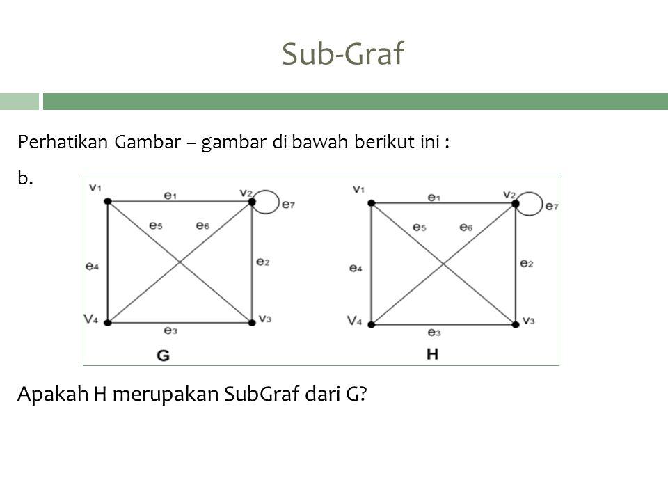 Sub-Graf Perhatikan Gambar – gambar di bawah berikut ini : b. Apakah H merupakan SubGraf dari G?