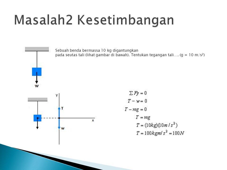 Sebuah benda bermassa 10 kg digantungkan pada seutas tali (lihat gambar di bawah). Tentukan tegangan tali…. (g = 10 m/s 2 )
