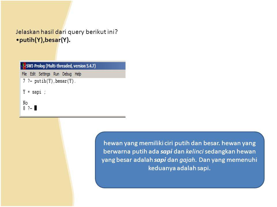 Jelaskan hasil dari query berikut ini.•putih(Y),besar(Y).