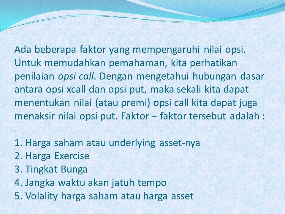 1.Harga saham atau underlying asset-nya Misalkan opsi call atas saham bank BNI diterbitkan.