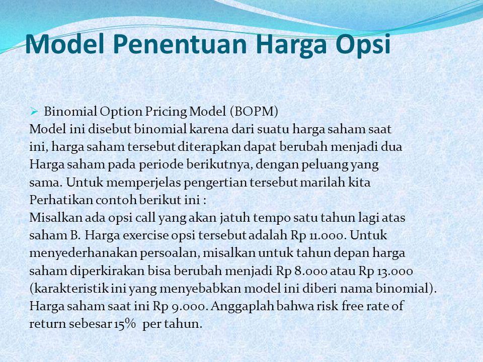 Model Penentuan Harga Opsi  Binomial Option Pricing Model (BOPM) Model ini disebut binomial karena dari suatu harga saham saat ini, harga saham terse
