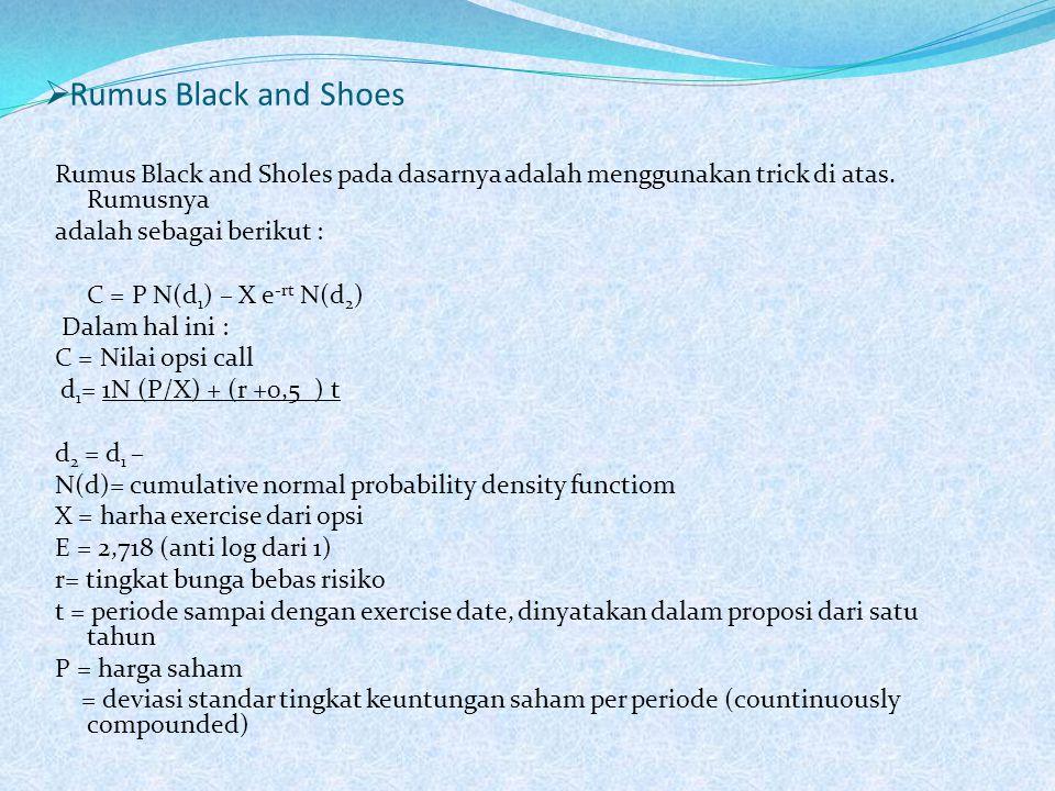  Rumus Black and Shoes Rumus Black and Sholes pada dasarnya adalah menggunakan trick di atas. Rumusnya adalah sebagai berikut : C = P N(d 1 ) – X e -
