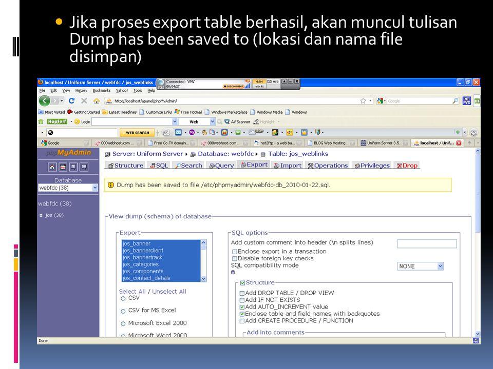  Jika proses export table berhasil, akan muncul tulisan Dump has been saved to (lokasi dan nama file disimpan)
