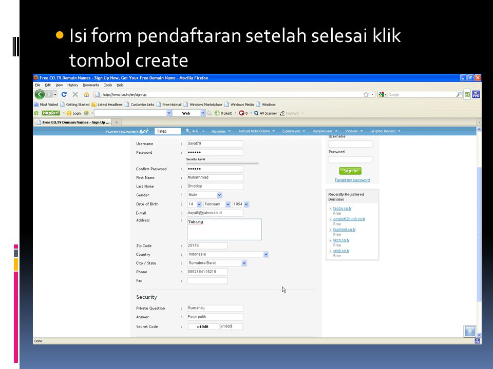  Isi form pendaftaran setelah selesai klik tombol create