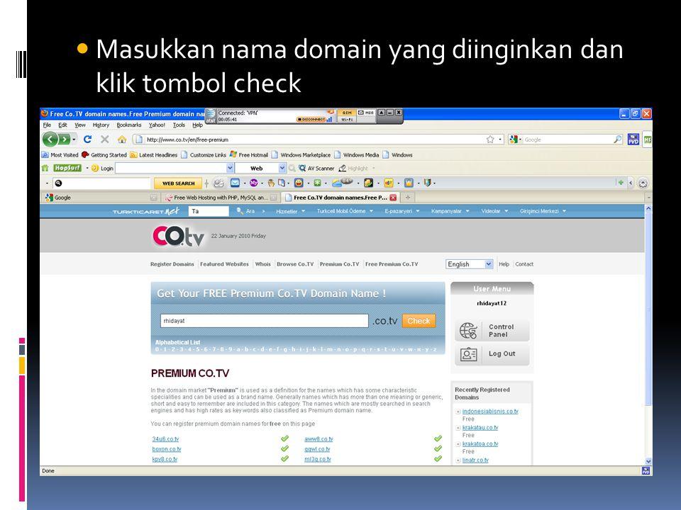  Masukkan nama domain yang diinginkan dan klik tombol check