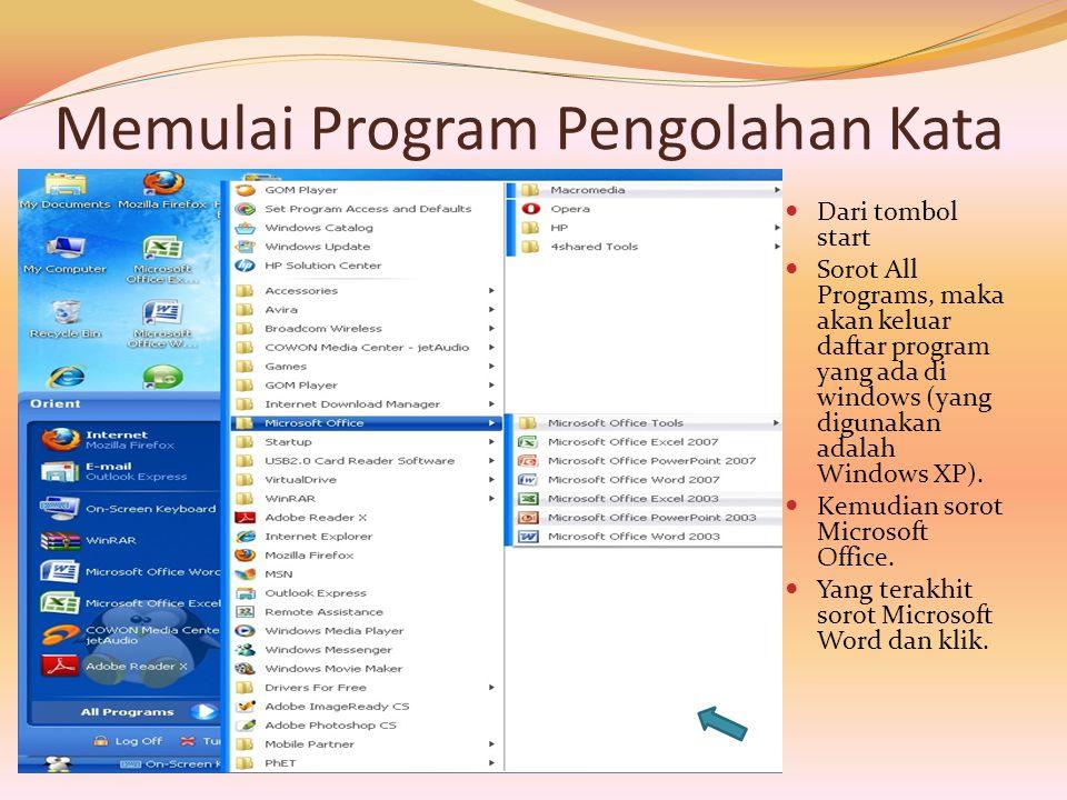 Memulai Program Pengolahan Kata  Dari tombol start  Sorot All Programs, maka akan keluar daftar program yang ada di windows (yang digunakan adalah W