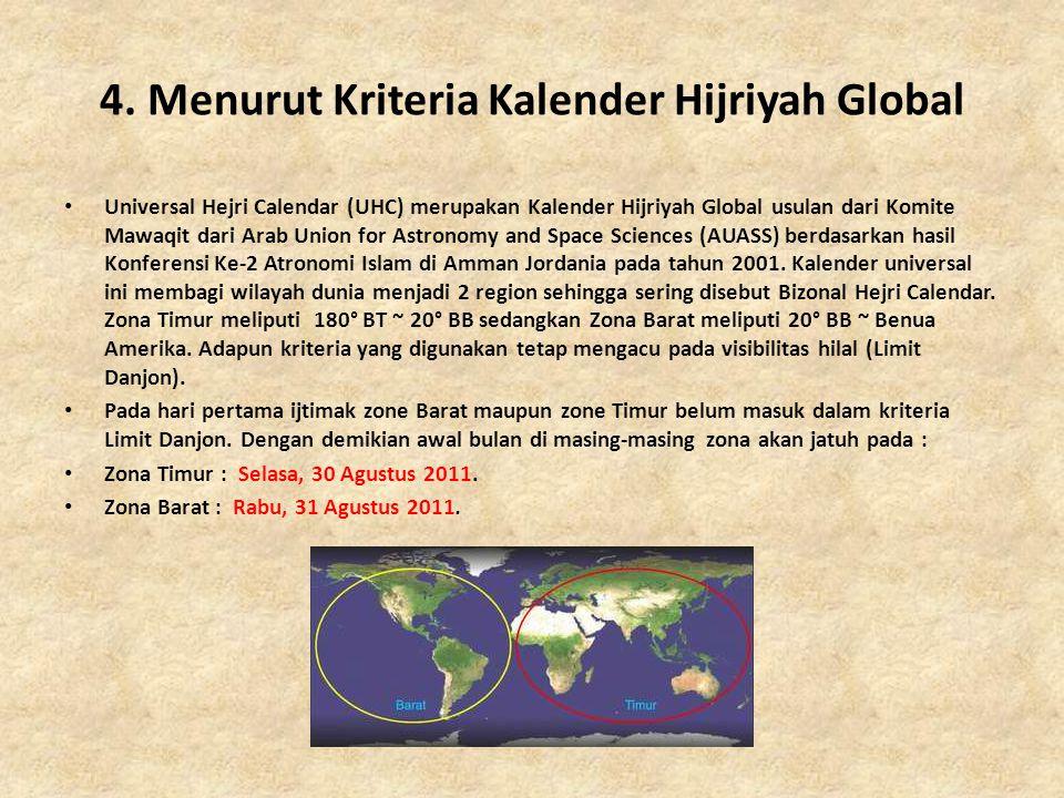 4. Menurut Kriteria Kalender Hijriyah Global • Universal Hejri Calendar (UHC) merupakan Kalender Hijriyah Global usulan dari Komite Mawaqit dari Arab