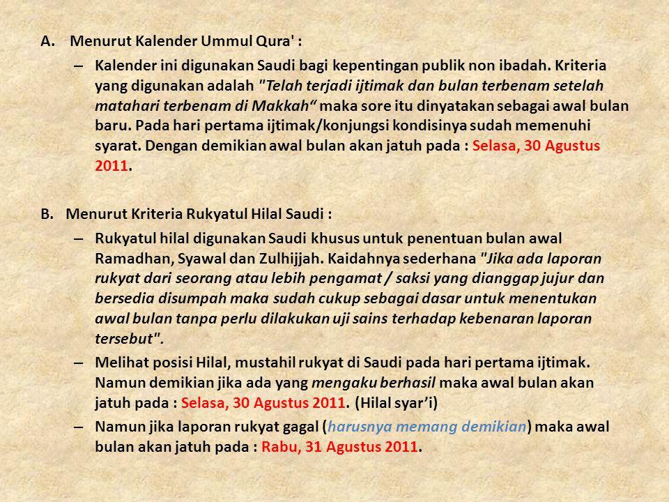 A.Menurut Kalender Ummul Qura' : – Kalender ini digunakan Saudi bagi kepentingan publik non ibadah. Kriteria yang digunakan adalah