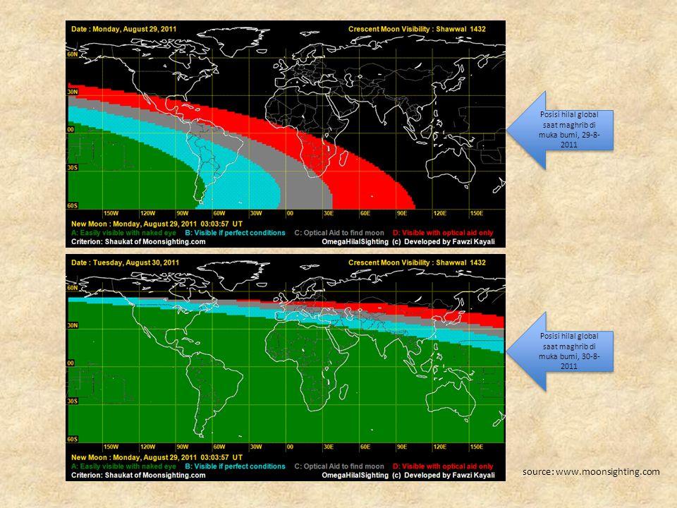 Posisi hilal global saat maghrib di muka bumi, 29-8- 2011 Posisi hilal global saat maghrib di muka bumi, 30-8- 2011 source: www.moonsighting.com
