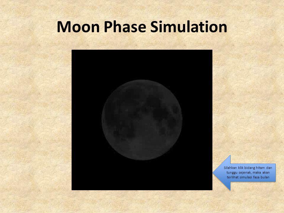 Moon Phase Simulation Silahkan klik bidang hitam dan tunggu sejenak, maka akan terlihat simulasi fasa bulan