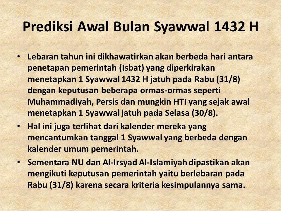 Prediksi Awal Bulan Syawwal 1432 H • Lebaran tahun ini dikhawatirkan akan berbeda hari antara penetapan pemerintah (Isbat) yang diperkirakan menetapka