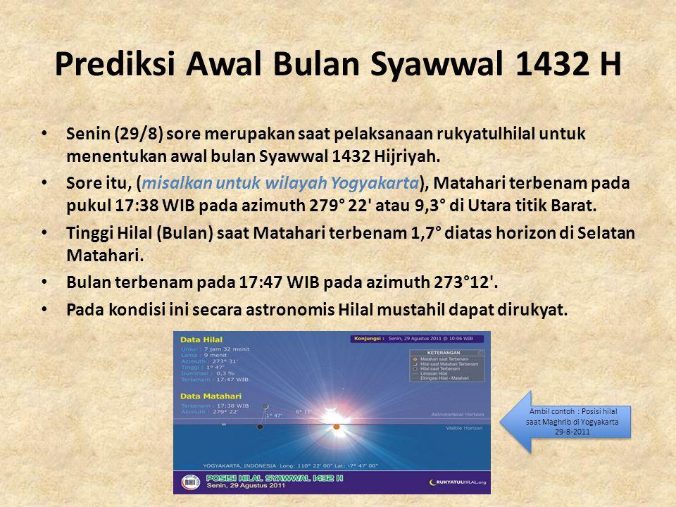 Prediksi Awal Bulan Syawwal 1432 H • Senin (29/8) sore merupakan saat pelaksanaan rukyatulhilal untuk menentukan awal bulan Syawwal 1432 Hijriyah. • S