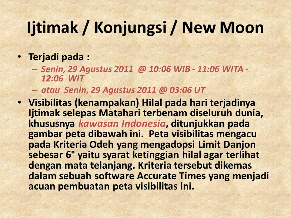 Ijtimak / Konjungsi / New Moon • Terjadi pada : – Senin, 29 Agustus 2011 @ 10:06 WIB - 11:06 WITA - 12:06 WIT – atau Senin, 29 Agustus 2011 @ 03:06 UT