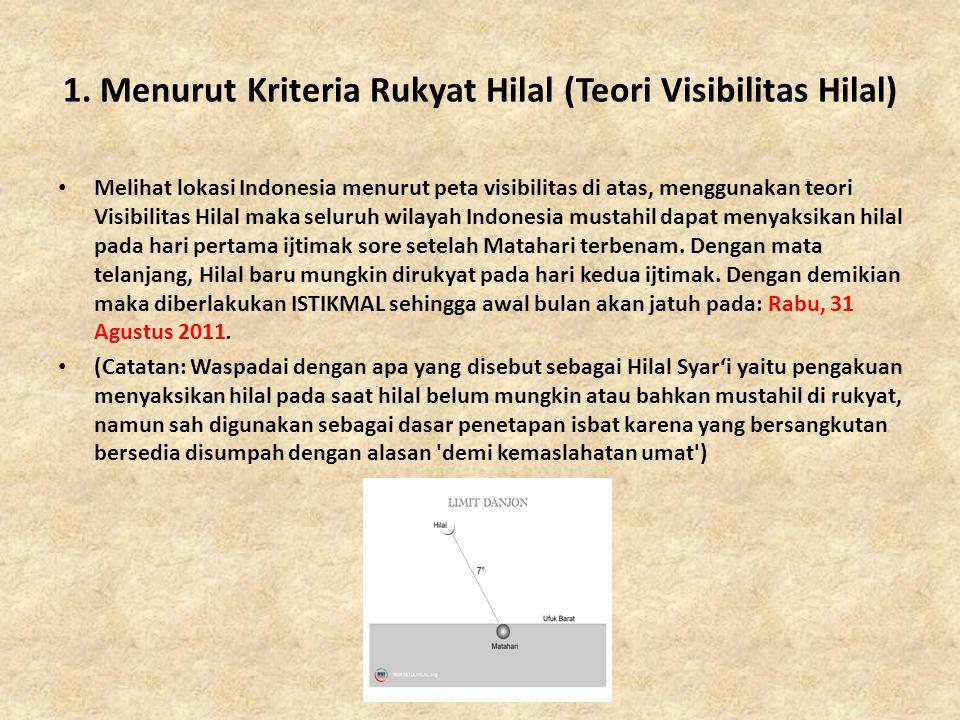 1. Menurut Kriteria Rukyat Hilal (Teori Visibilitas Hilal) • Melihat lokasi Indonesia menurut peta visibilitas di atas, menggunakan teori Visibilitas
