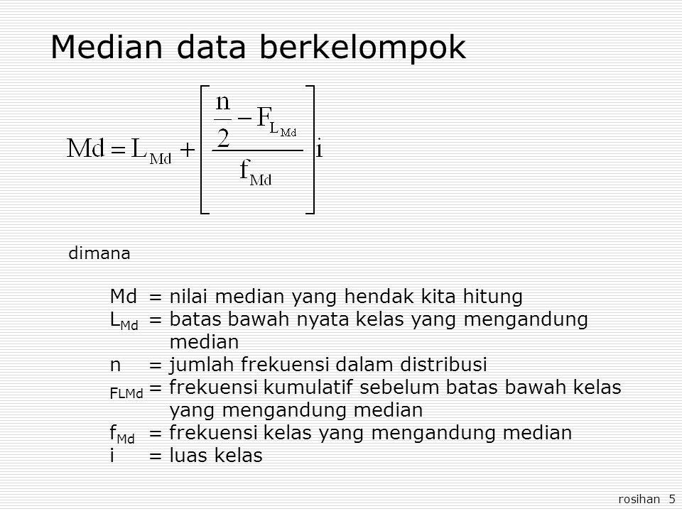 rosihan 5 Median data berkelompok dimana Md=nilai median yang hendak kita hitung L Md =batas bawah nyata kelas yang mengandung median n=jumlah frekuensi dalam distribusi F LMd =frekuensi kumulatif sebelum batas bawah kelas yang mengandung median f Md =frekuensi kelas yang mengandung median i=luas kelas