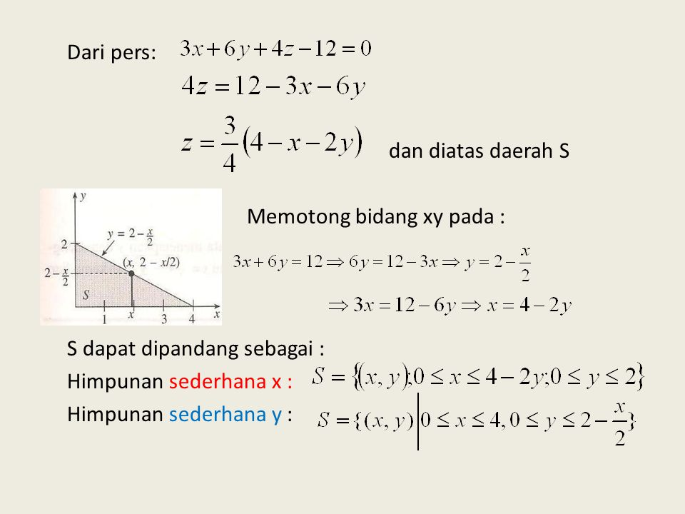 9. Gunakan integral lipat dua untuk menetukan volume dari tetrahedron yang dibatasi oleh bidang-bidang koordinat dan bidang Peny: Perpotongan sumbu x