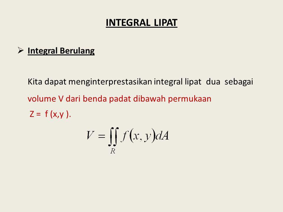 INTEGRAL LIPAT  Integral Berulang Kita dapat menginterprestasikan integral lipat dua sebagai volume V dari benda padat dibawah permukaan Z = f (x,y ).