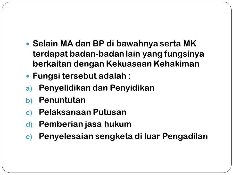  Selain MA dan BP di bawahnya serta MK terdapat badan-badan lain yang fungsinya berkaitan dengan Kekuasaan Kehakiman  Fungsi tersebut adalah : a) Pe