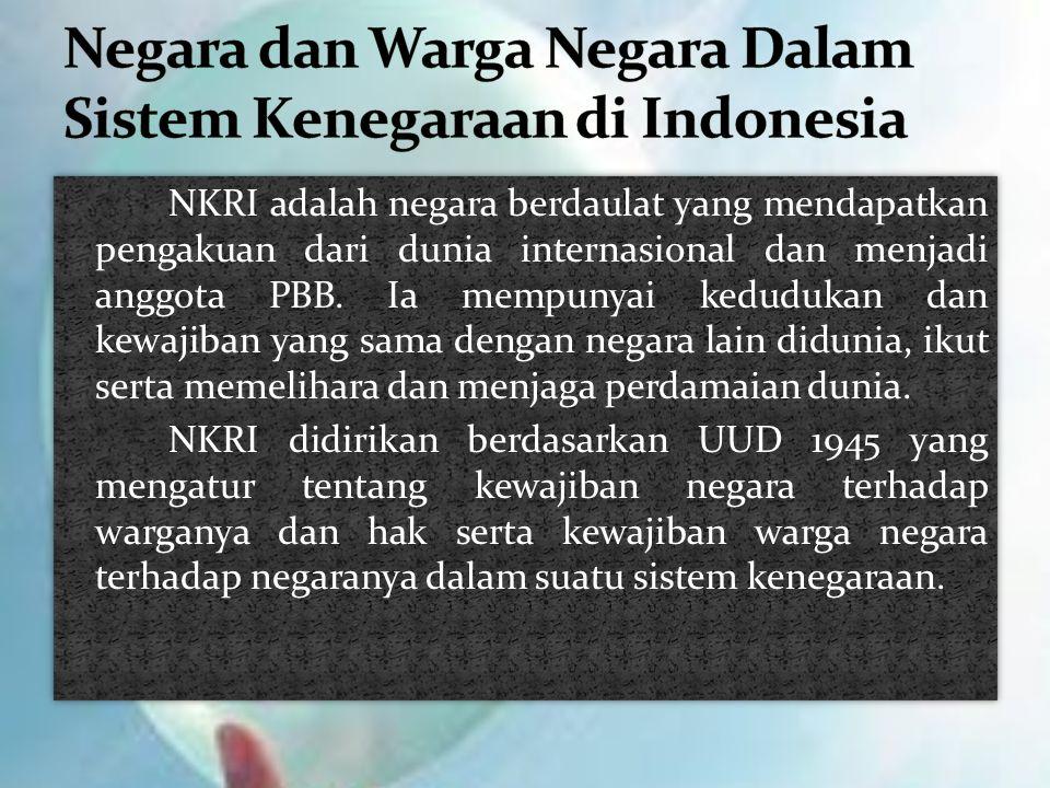 NKRI adalah negara berdaulat yang mendapatkan pengakuan dari dunia internasional dan menjadi anggota PBB. Ia mempunyai kedudukan dan kewajiban yang sa