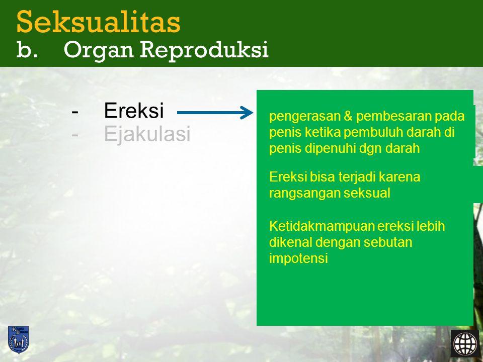 Seksualitas b. Organ Reproduksi -Ereksi -Ejakulasi pengerasan & pembesaran pada penis ketika pembuluh darah di penis dipenuhi dgn darah Ereksi bisa te
