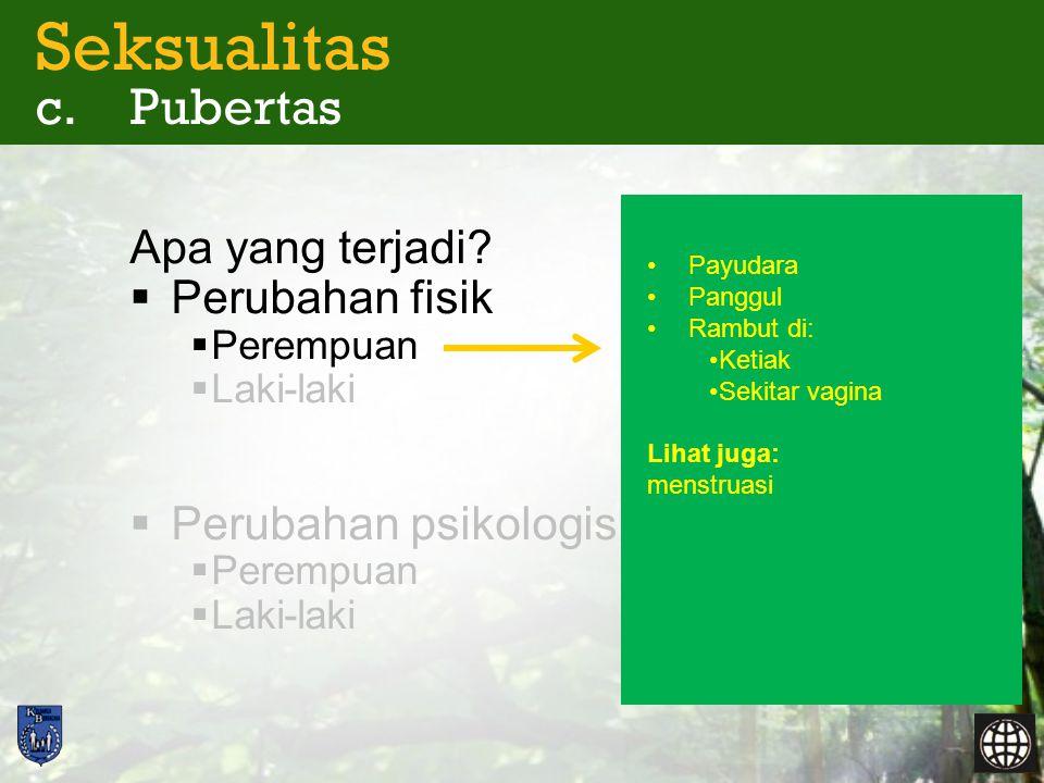 Seksualitas c. Pubertas Apa yang terjadi?  Perubahan fisik  Perempuan  Laki-laki  Perubahan psikologis  Perempuan  Laki-laki •Payudara •Panggul