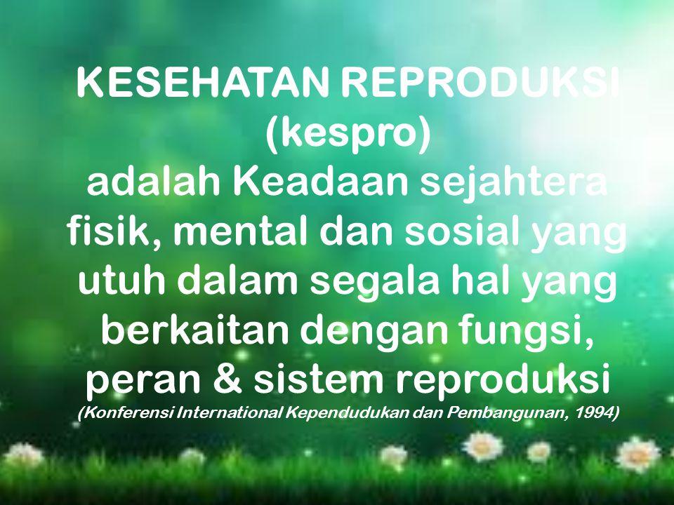 KESEHATAN REPRODUKSI (kespro) adalah Keadaan sejahtera fisik, mental dan sosial yang utuh dalam segala hal yang berkaitan dengan fungsi, peran & siste