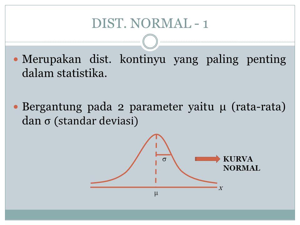 DIST. NORMAL - 1  Merupakan dist. kontinyu yang paling penting dalam statistika.  Bergantung pada 2 parameter yaitu μ (rata-rata) dan σ (standar dev