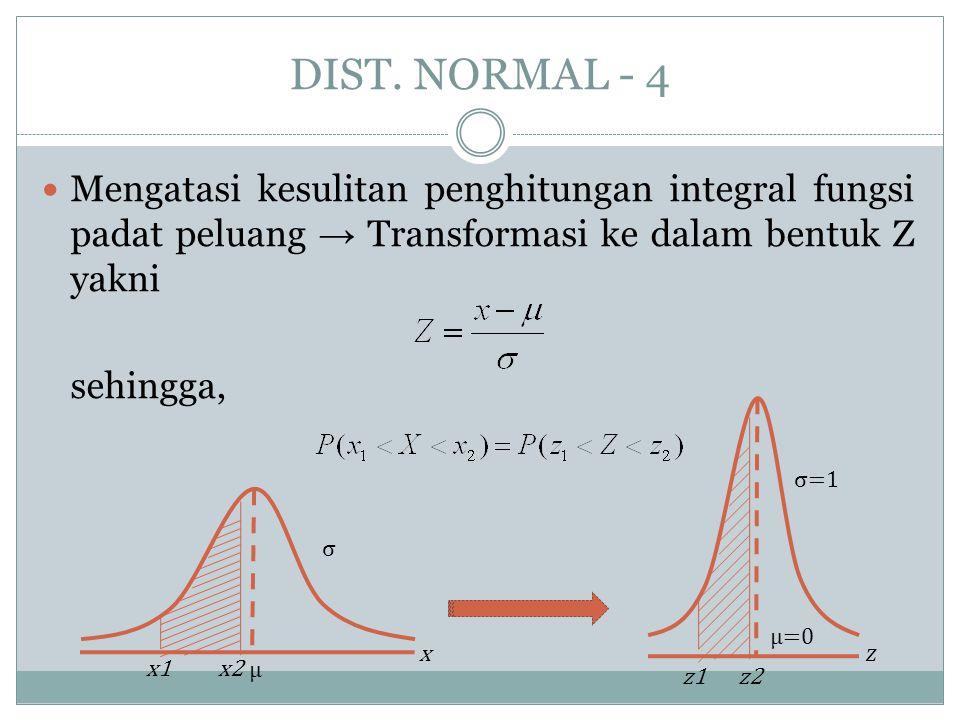 DIST. NORMAL - 4  Mengatasi kesulitan penghitungan integral fungsi padat peluang → Transformasi ke dalam bentuk Z yakni sehingga, σ μ x x1x2 z1z2 σ=1