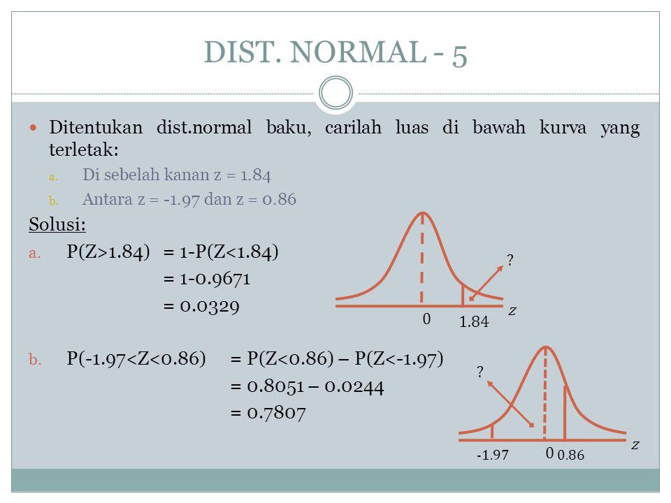 DIST. NORMAL - 5  Ditentukan dist.normal baku, carilah luas di bawah kurva yang terletak: a. Di sebelah kanan z = 1.84 b. Antara z = -1.97 dan z = 0.