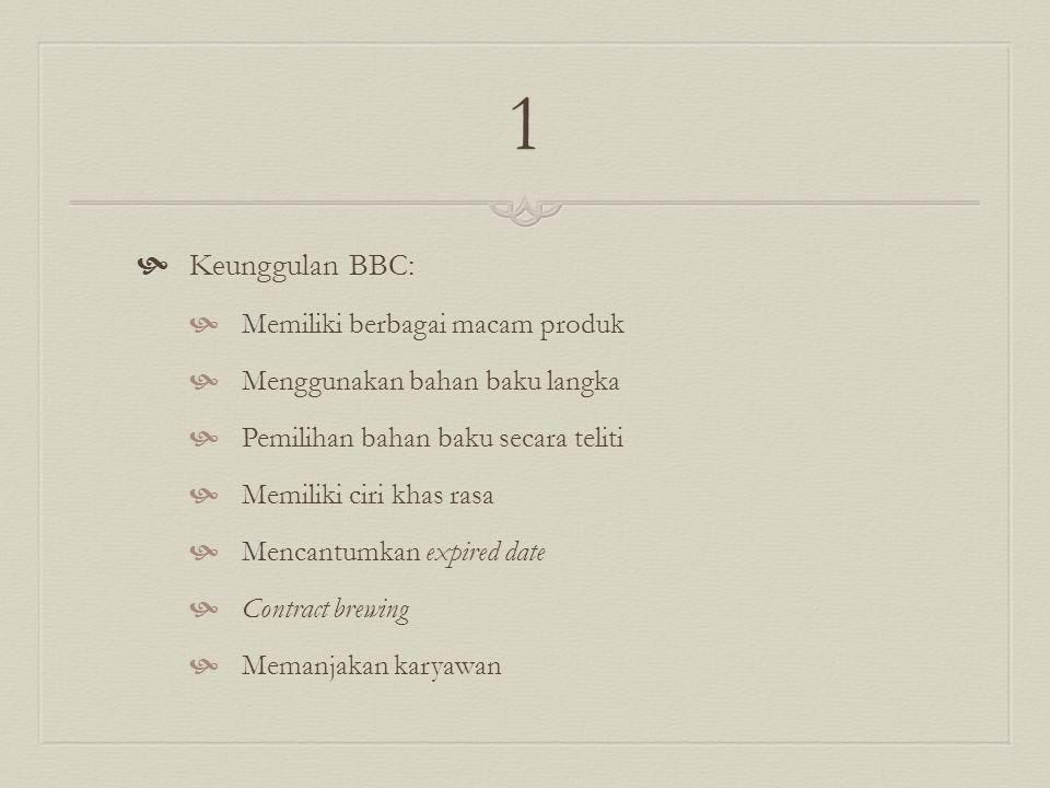 1  Keunggulan BBC:  Memiliki berbagai macam produk  Menggunakan bahan baku langka  Pemilihan bahan baku secara teliti  Memiliki ciri khas rasa  Mencantumkan expired date  Contract brewing  Memanjakan karyawan