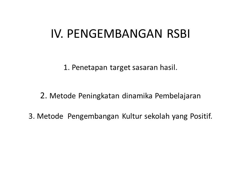 IV. PENGEMBANGAN RSBI 1. Penetapan target sasaran hasil.