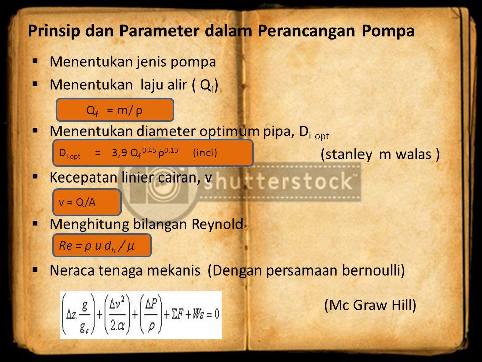 Prinsip dan Parameter dalam Perancangan Pompa  Menentukan jenis pompa  Menentukan laju alir ( Q f )  Menentukan diameter optimum pipa, D i opt (sta