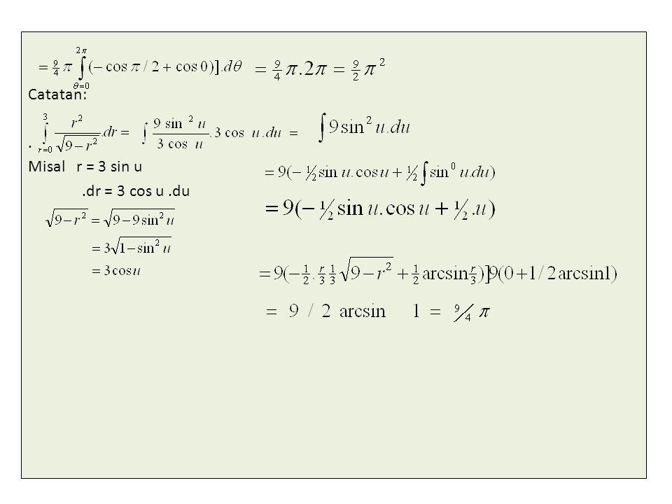 Catatan:. Misal r = 3 sin u.dr = 3 cos u.du