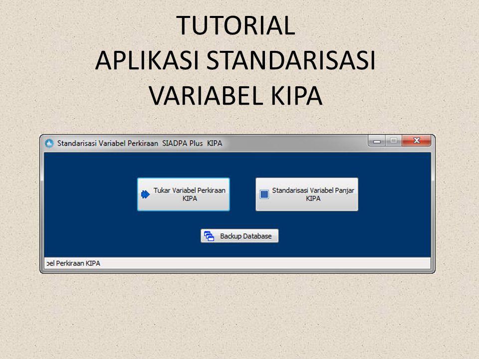 • Taruh Aplikasinya di bawah folder siadpa aktif • Klik • Akan terbuka aplikasi Tukar Variabel Perkiraan KIPA berfungsi jika ada variabel-variabel penting yang tertukar Sehingga tidak terdeteksi di Infoperkara atau di Aplikasi Pengawasan, seperti Materai yang varaibel standarnya (0205xxxxxx) Standarisasi variabel Panjar KIPA berfungsi jika di Satker membuat variabel perkiraan Panjar setiap jenis perkara lebih dari satu variabel Panjar, misalnya PANJAR CT, PANJAR CG, PANJAR PERMOHONAN, dll dibuat tersendiri sehingga di infoperkara tidak masuk/masuk sebagian, karena variabel Panjar harus 1 untuk semua jenis Perkara, karena secara default hanya diperbolehkan 1 variabel perkiraan Panjar Backup Database berfungsi untuk membackup Database SIADPA