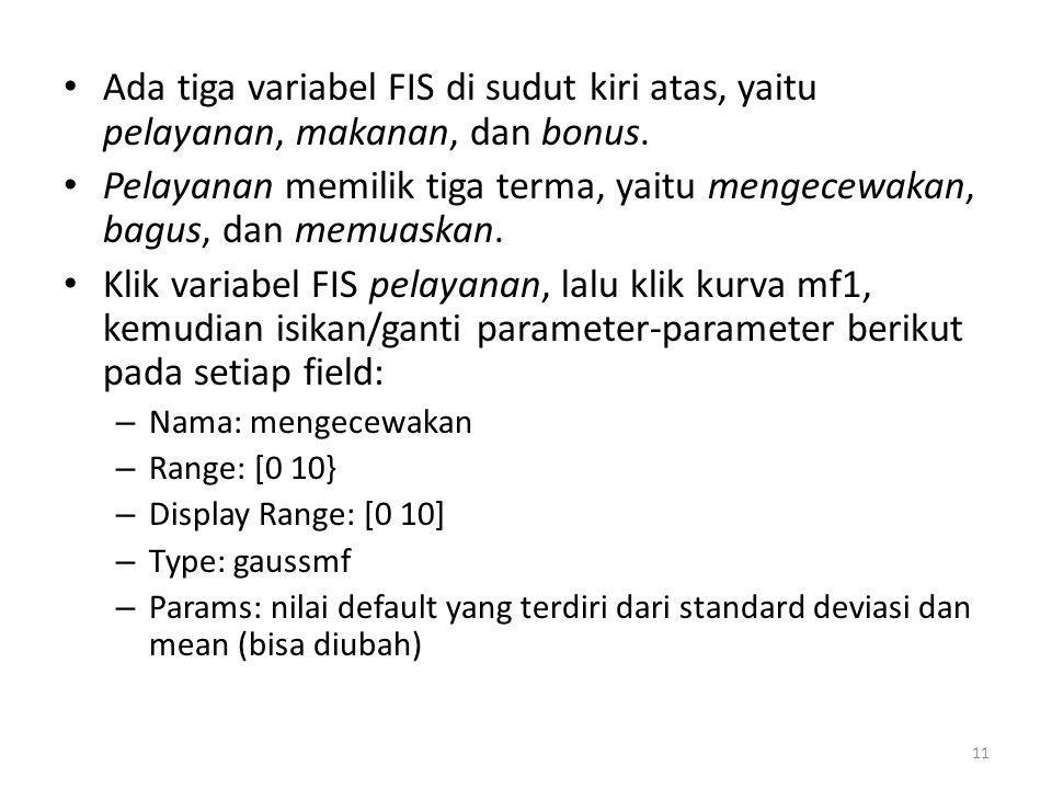 • Ada tiga variabel FIS di sudut kiri atas, yaitu pelayanan, makanan, dan bonus. • Pelayanan memilik tiga terma, yaitu mengecewakan, bagus, dan memuas