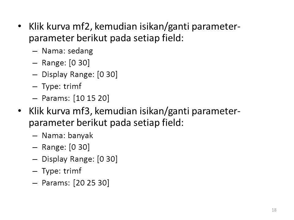 • Klik kurva mf2, kemudian isikan/ganti parameter- parameter berikut pada setiap field: – Nama: sedang – Range: [0 30] – Display Range: [0 30] – Type: