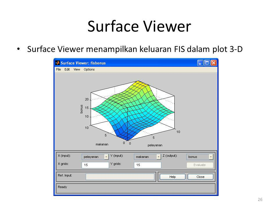 Surface Viewer • Surface Viewer menampilkan keluaran FIS dalam plot 3-D 26