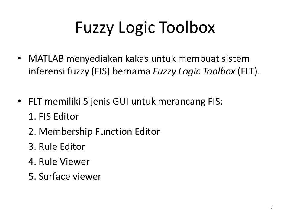 Fuzzy Logic Toolbox • MATLAB menyediakan kakas untuk membuat sistem inferensi fuzzy (FIS) bernama Fuzzy Logic Toolbox (FLT). • FLT memiliki 5 jenis GU