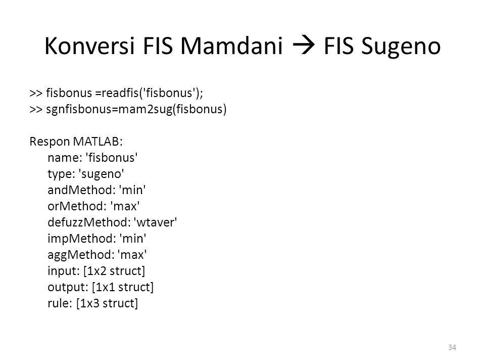 Konversi FIS Mamdani  FIS Sugeno >> fisbonus =readfis('fisbonus'); >> sgnfisbonus=mam2sug(fisbonus) Respon MATLAB: name: 'fisbonus' type: 'sugeno' an