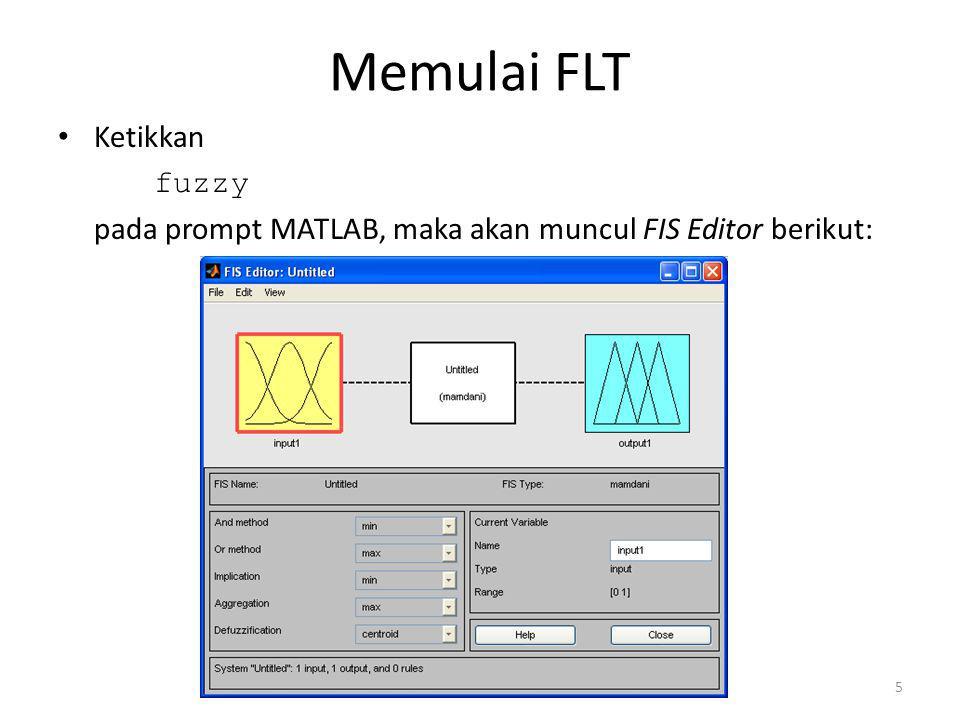 Memulai FLT • Ketikkan fuzzy pada prompt MATLAB, maka akan muncul FIS Editor berikut: 5