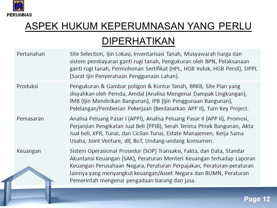 Free Powerpoint Templates Page 12 ASPEK HUKUM KEPERUMNASAN YANG PERLU DIPERHATIKAN PertanahanSite Selection, Ijin Lokasi, Inventarisasi Tanah, Musyawarah harga dan sistem pembayaran ganti rugi tanah, Pengukuran oleh BPN, Pelaksanaan ganti rugi tanah, Permohonan Sertifikat (HPL, HGB Induk, HGB Persil), SIPPL (Surat Ijin Penyerahaan Penggunaan Lahan).
