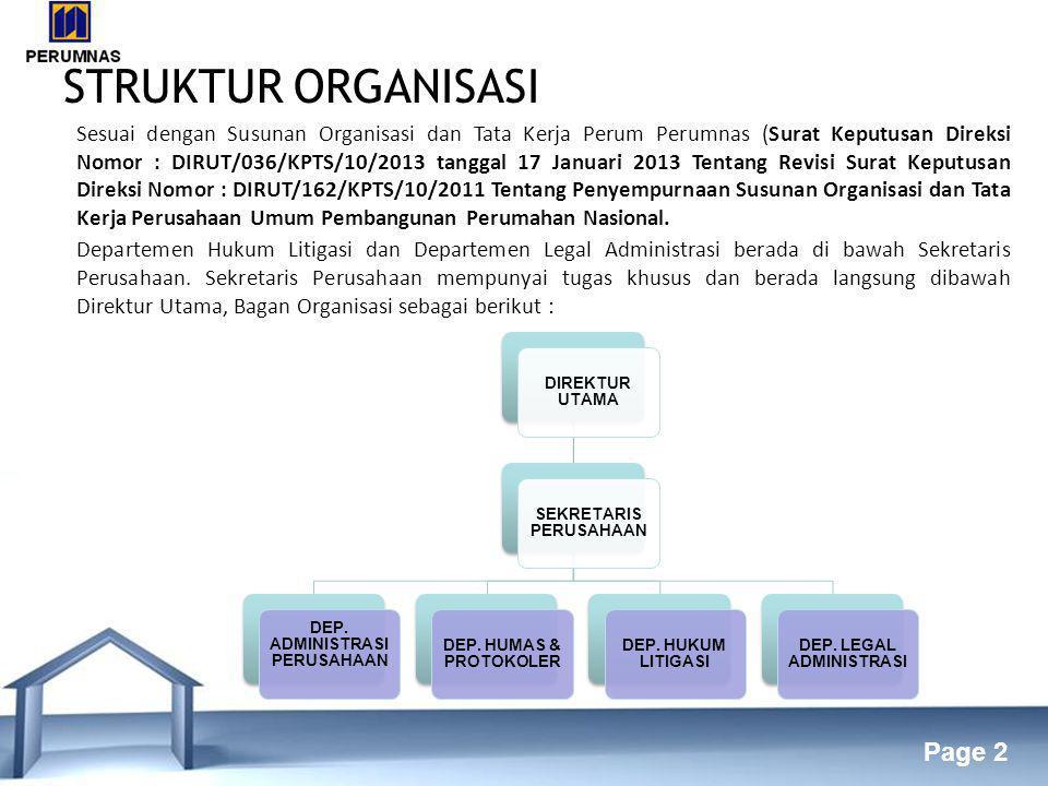 Free Powerpoint Templates Page 2 STRUKTUR ORGANISASI DIREKTUR UTAMA SEKRETARIS PERUSAHAAN DEP.