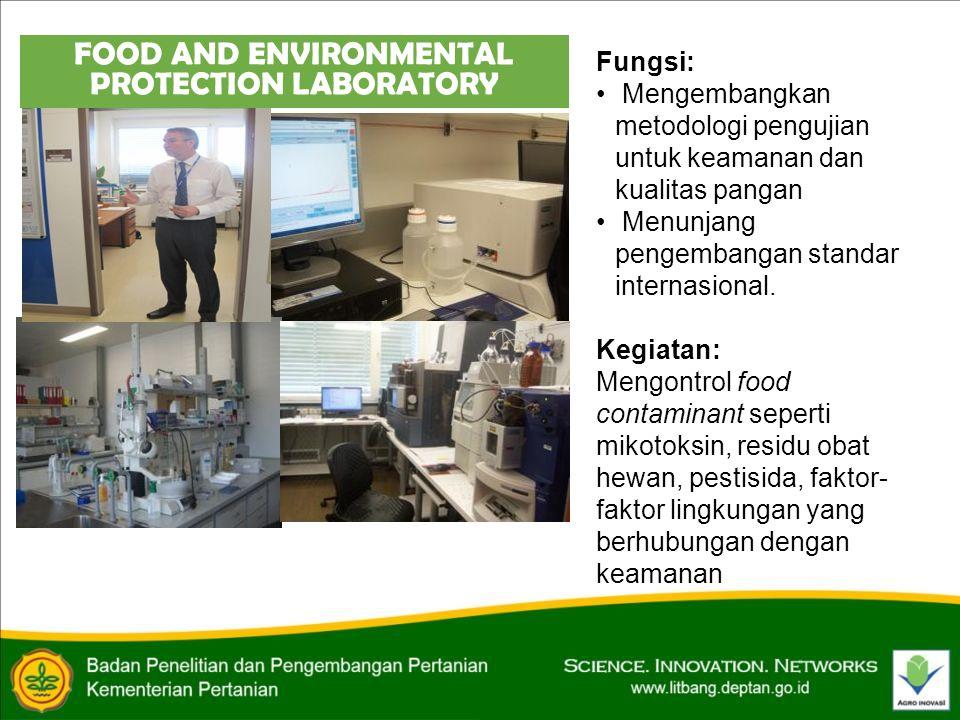 FOOD AND ENVIRONMENTAL PROTECTION LABORATORY Fungsi: • Mengembangkan metodologi pengujian untuk keamanan dan kualitas pangan • Menunjang pengembangan standar internasional.