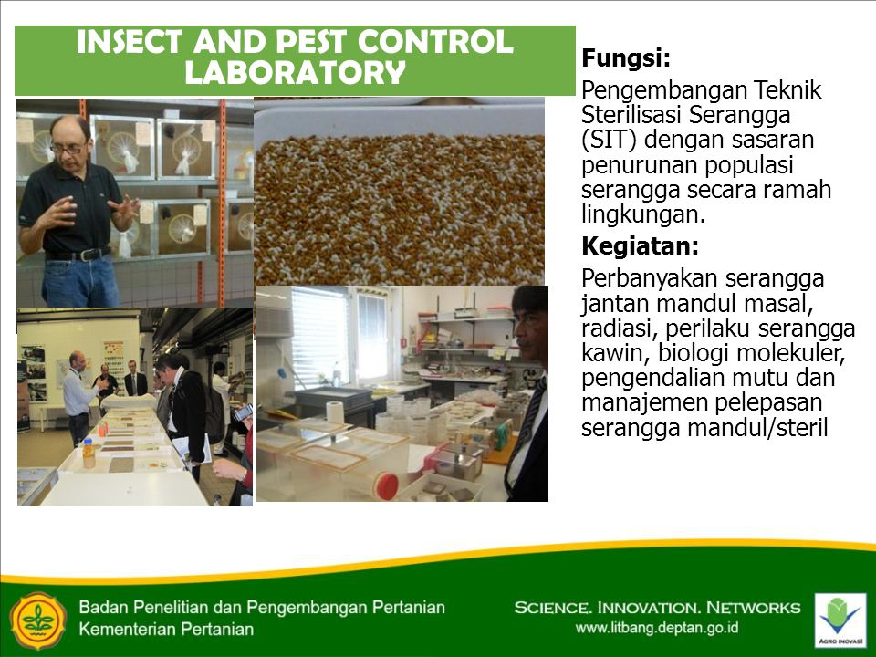 INSECT AND PEST CONTROL LABORATORY Fungsi: Pengembangan Teknik Sterilisasi Serangga (SIT) dengan sasaran penurunan populasi serangga secara ramah lingkungan.