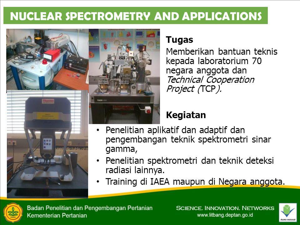 NUCLEAR SPECTROMETRY AND APPLICATIONS Tugas Memberikan bantuan teknis kepada laboratorium 70 negara anggota dan Technical Cooperation Project (TCP).