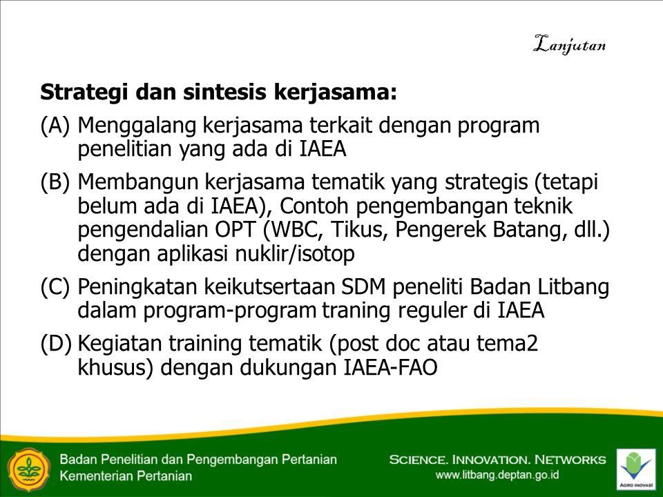 Strategi dan sintesis kerjasama: (A) Menggalang kerjasama terkait dengan program penelitian yang ada di IAEA (B)Membangun kerjasama tematik yang strategis (tetapi belum ada di IAEA), Contoh pengembangan teknik pengendalian OPT (WBC, Tikus, Pengerek Batang, dll.) dengan aplikasi nuklir/isotop (C)Peningkatan keikutsertaan SDM peneliti Badan Litbang dalam program-program traning reguler di IAEA (D)Kegiatan training tematik (post doc atau tema2 khusus) dengan dukungan IAEA-FAO Lanjutan