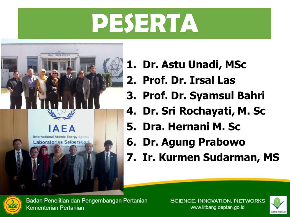 PESERTA 1.Dr. Astu Unadi, MSc 2.Prof. Dr. Irsal Las 3.Prof.